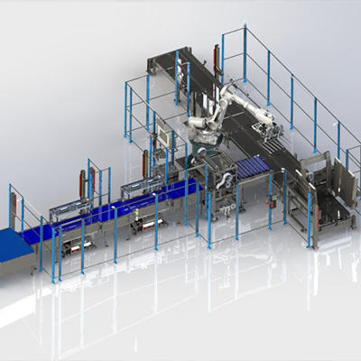 robotic end-of-press palletizer
